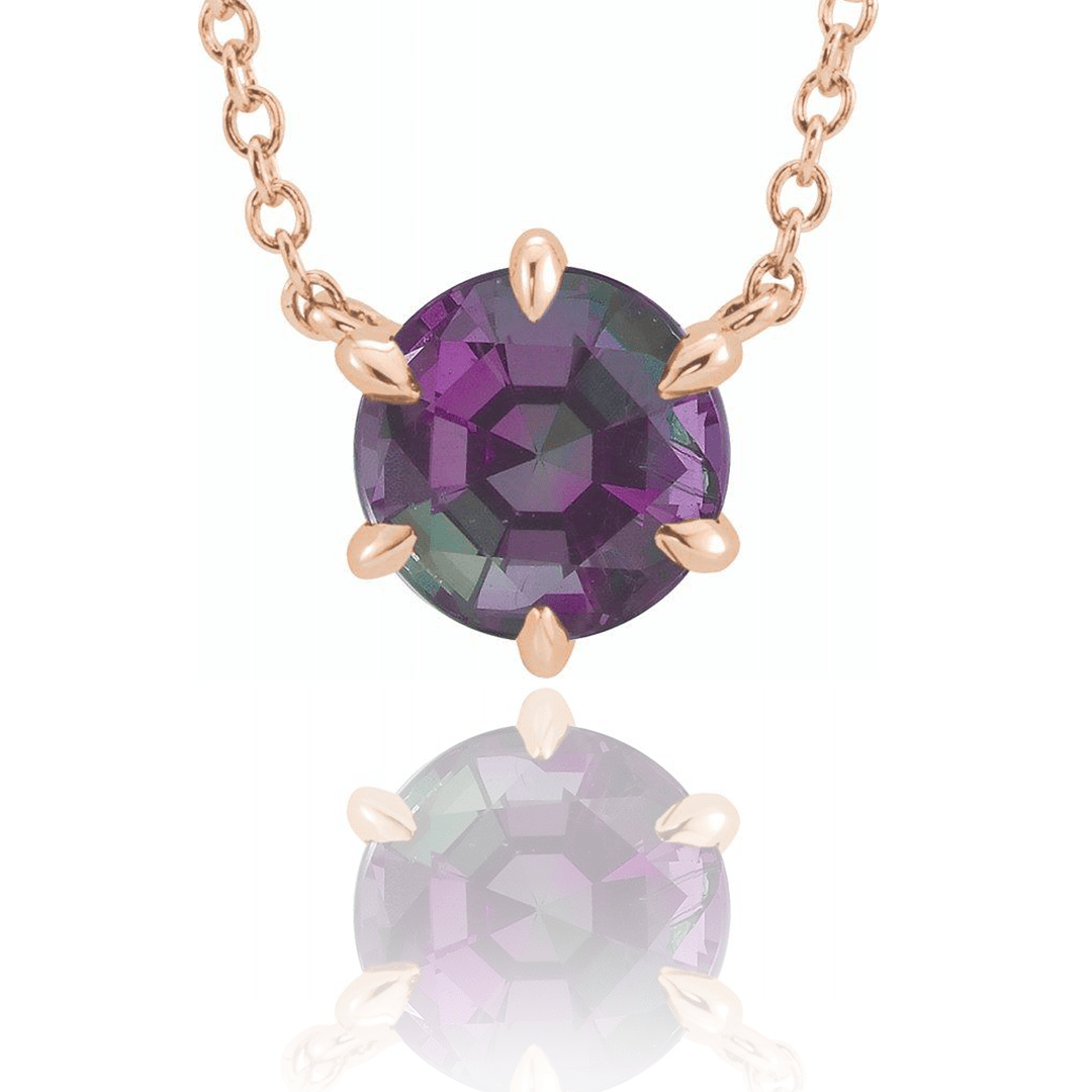Chatham Alexandrite Six Prong Set Pendant Necklace