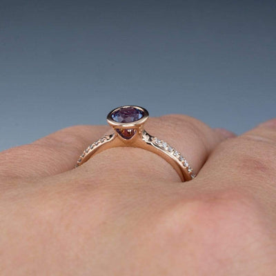 Chatham Alexandrite Round Peekaboo Bezel Diamond Micro Pave Engagement Ring - by Nodeform