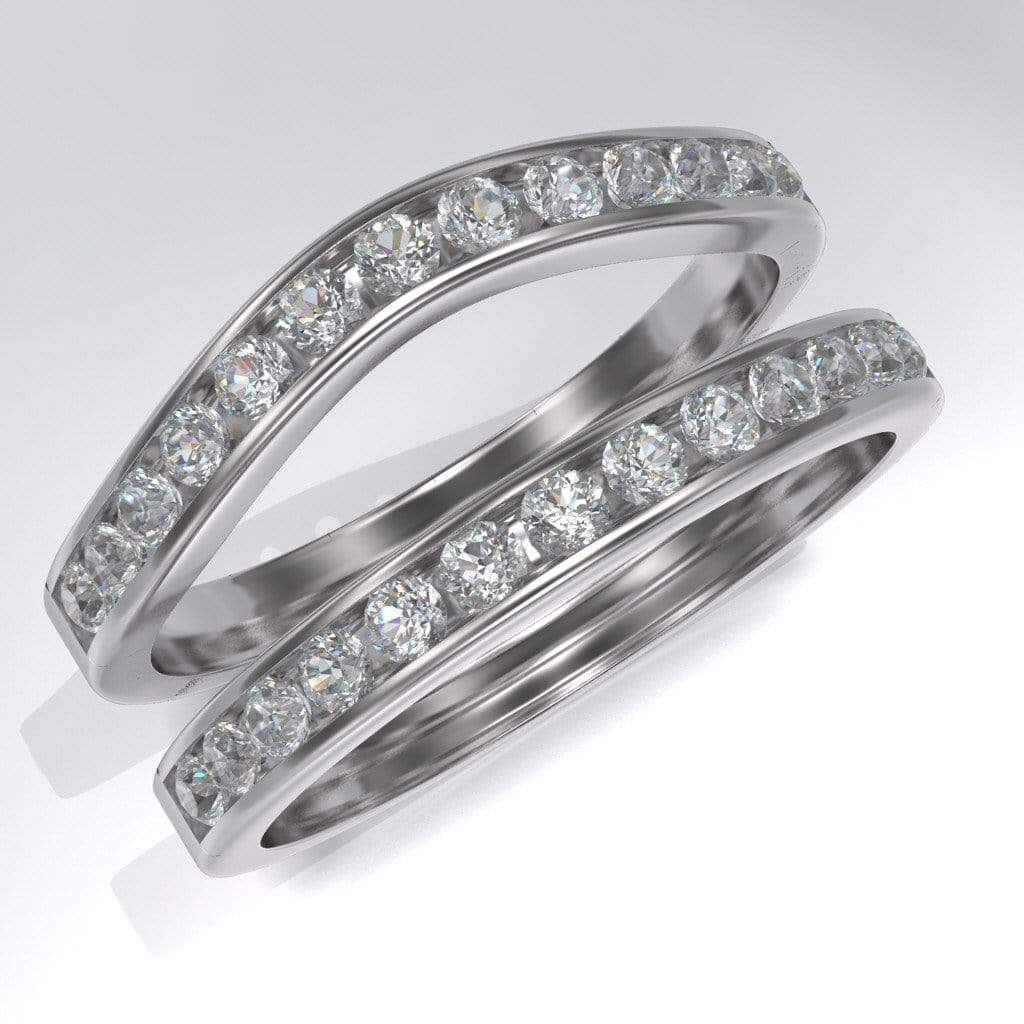 channel set white sapphire wedding band - White Sapphire Wedding Ring Sets