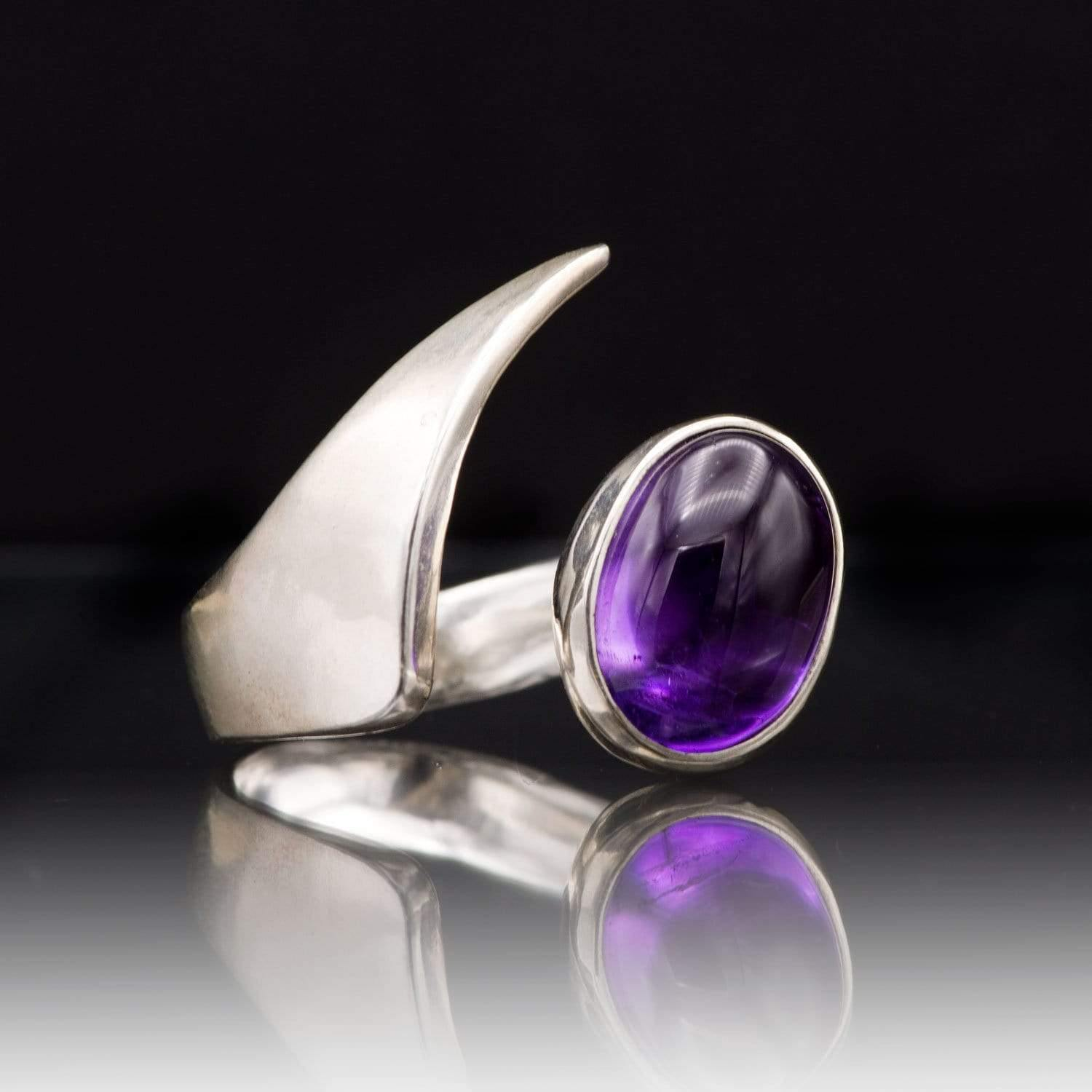 Amethyst Mermaid Sterling Silver Ring Statement Cocktail Ring, ready to ship size 6.5 to 8.5