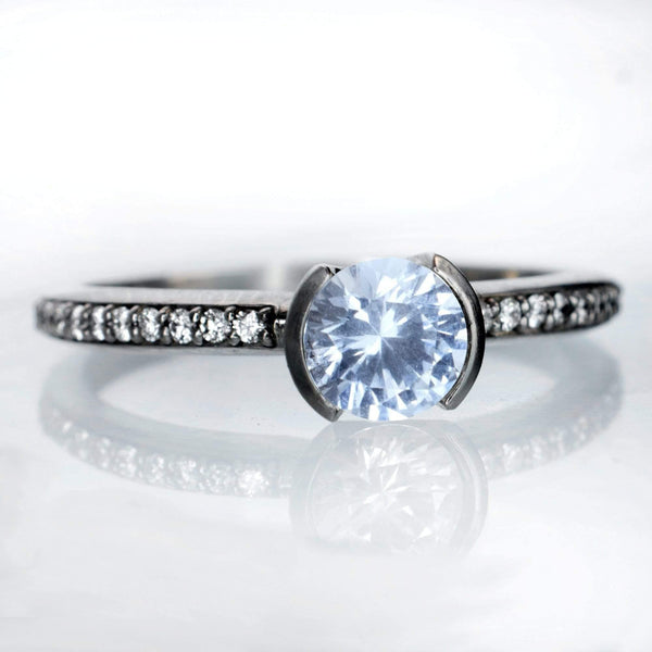 Aquamarine Half Bezel Diamond Micro Pave Engagement Ring
