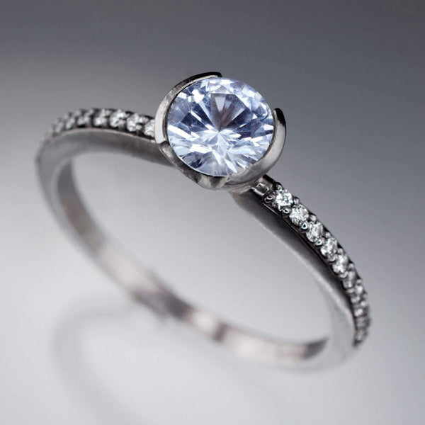Aquamarine Half Bezel Diamond Micro Pave Engagement Ring - by Nodeform