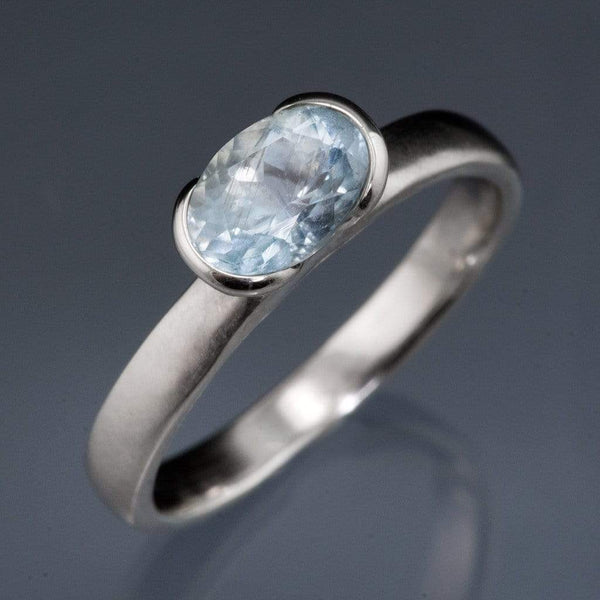 Oval Aquamarine Half Bezel Solitaire Engagement Ring - by Nodeform