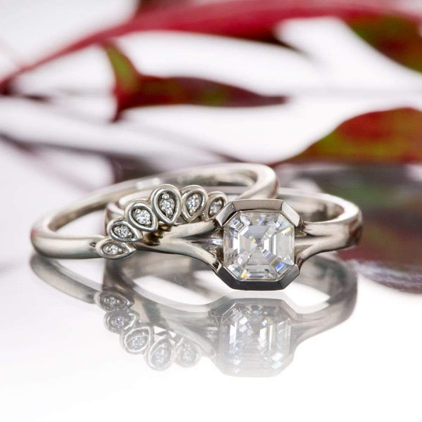 Fleur Band - Vintage Inspired Contoured Diamond Silver Stacking Ring, Ready to Size 5-8
