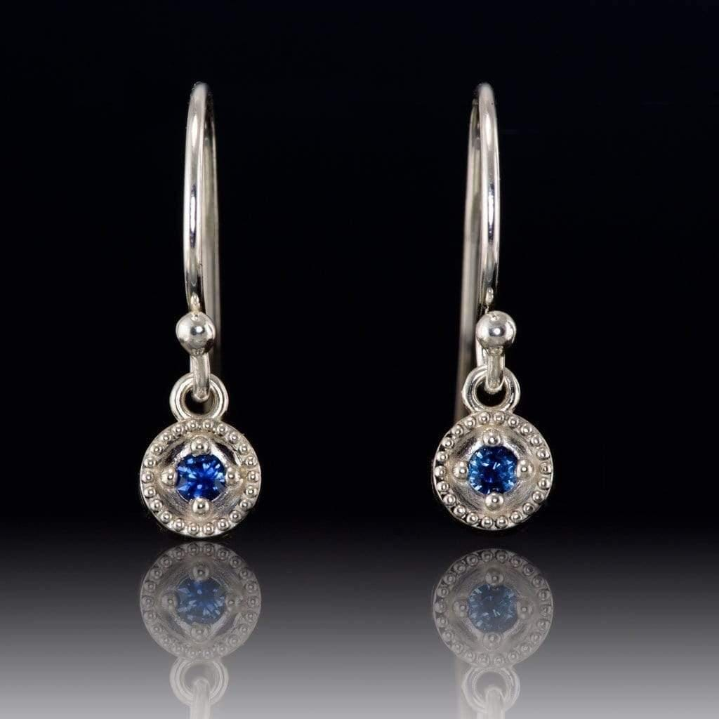 Australian Kings Plain Royal Blue Sapphire Round Milgrain Dangle Earrings - by Nodeform
