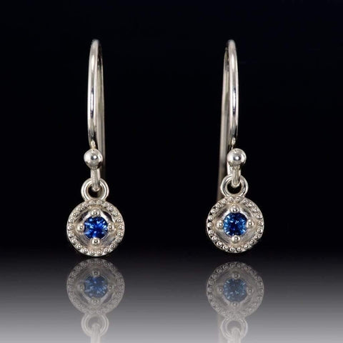 Australian Kings Plain Royal Blue Sapphire Round Milgrain Dangle Earrings