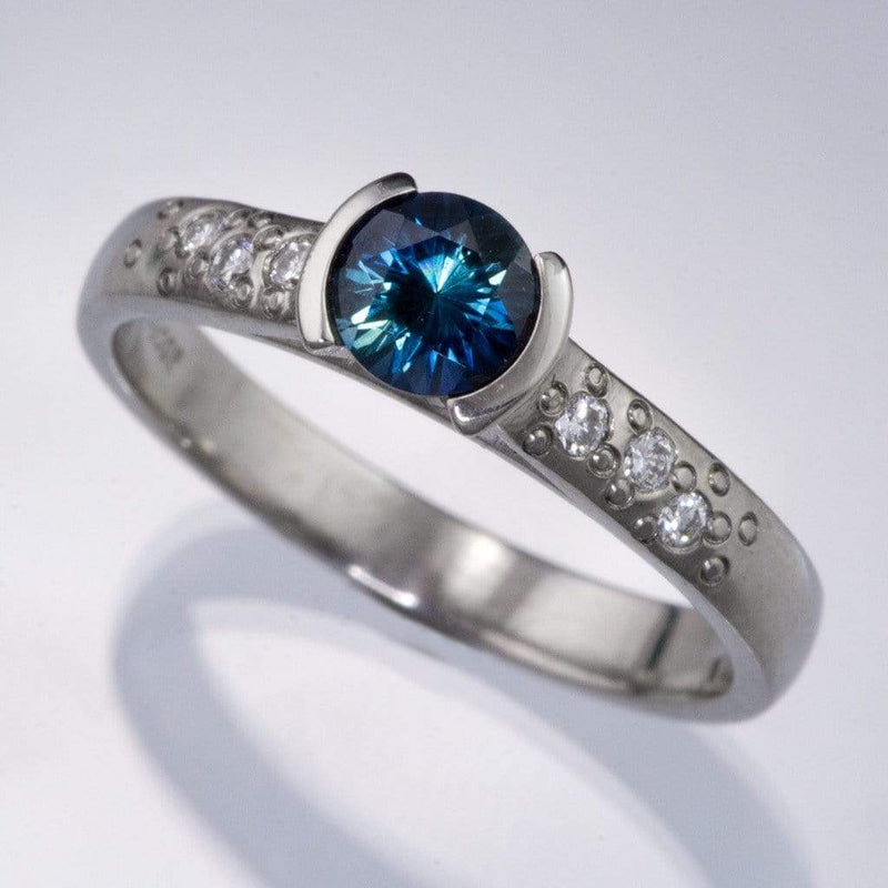Fair Trade Blue Australian Kings Plain Sapphire Half Bezel Diamond Star Dust Engagement Ring