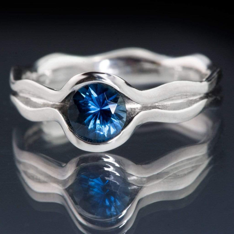 Fair Trade Blue Australian Kings Plain Sapphire Wave Solitaire Engagement Ring