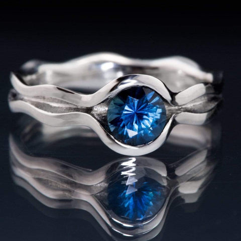 Fair Trade Blue Australian Kings Plain Sapphire Wave Engagement Ring - by Nodeform