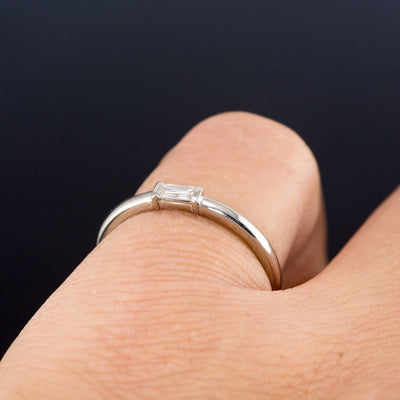 Baguette Diamond Stacking Promise or Solitaire Engagement Ring