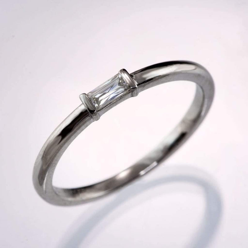 Baguette Moissanite Stacking Engagement or Anniversary Ring - by Nodeform