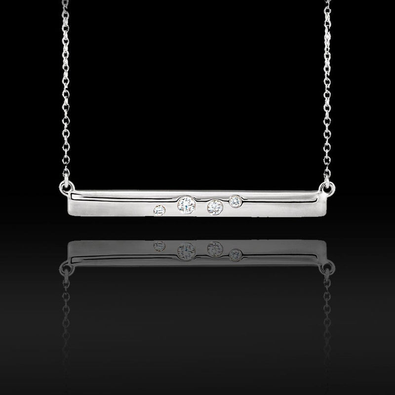 Scattered Flush Set Diamond Horizontal Bar Pendant Necklace