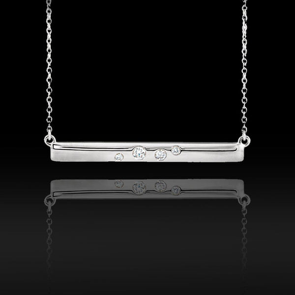 0.1 CTW Diamond Horizontal Bar Pendant Necklace