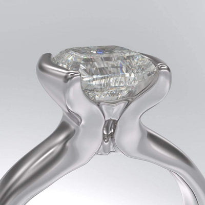 Barrel Cut Moissanite Modified Tension Solitaire Engagement Ring - by Nodeform