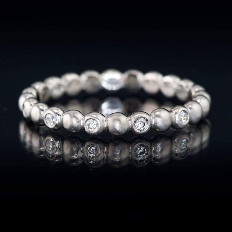 Beaded 5 Diamond Eternity Stacking Ring Wedding Band, ready to ship size 4-8 - by Nodeform