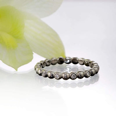 Beaded Diamond Eternity Stacking Ring Wedding Band - by Nodeform