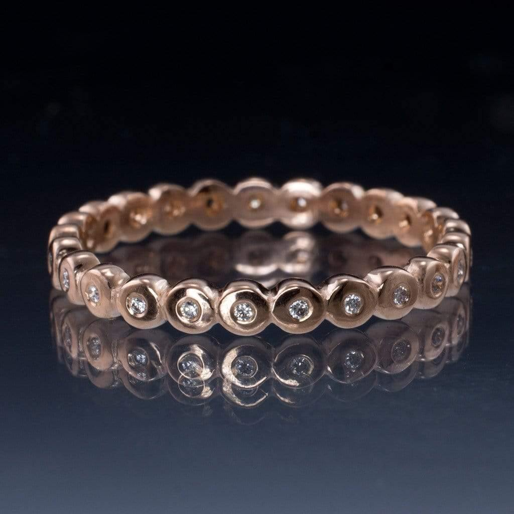 Beaded Diamond Eternity Ring Stacking Wedding Band - by Nodeform