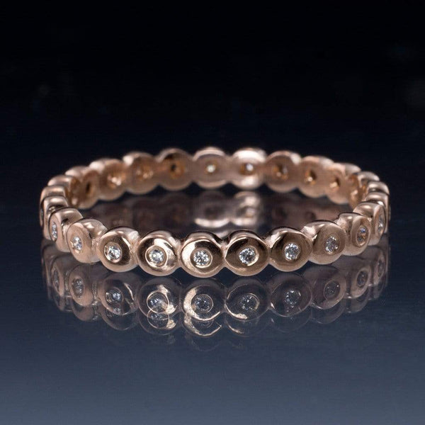 Beaded Rose Gold Diamond Eternity Ring Stacking Wedding Band, size 6.75-8 - by Nodeform