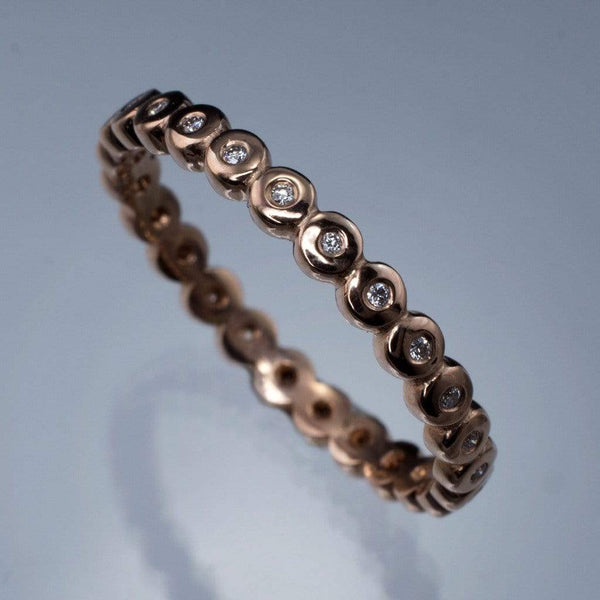 Beaded Rose Gold Diamond Eternity Ring Stacking Wedding Band, size 6.75-8