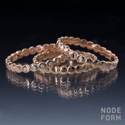 Beaded Random Diamond Eternity Ring Stacking Wedding Band - by Nodeform