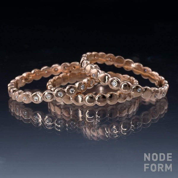 Beaded Diamond Eternity Bands Stacking Ring Set - by Nodeform