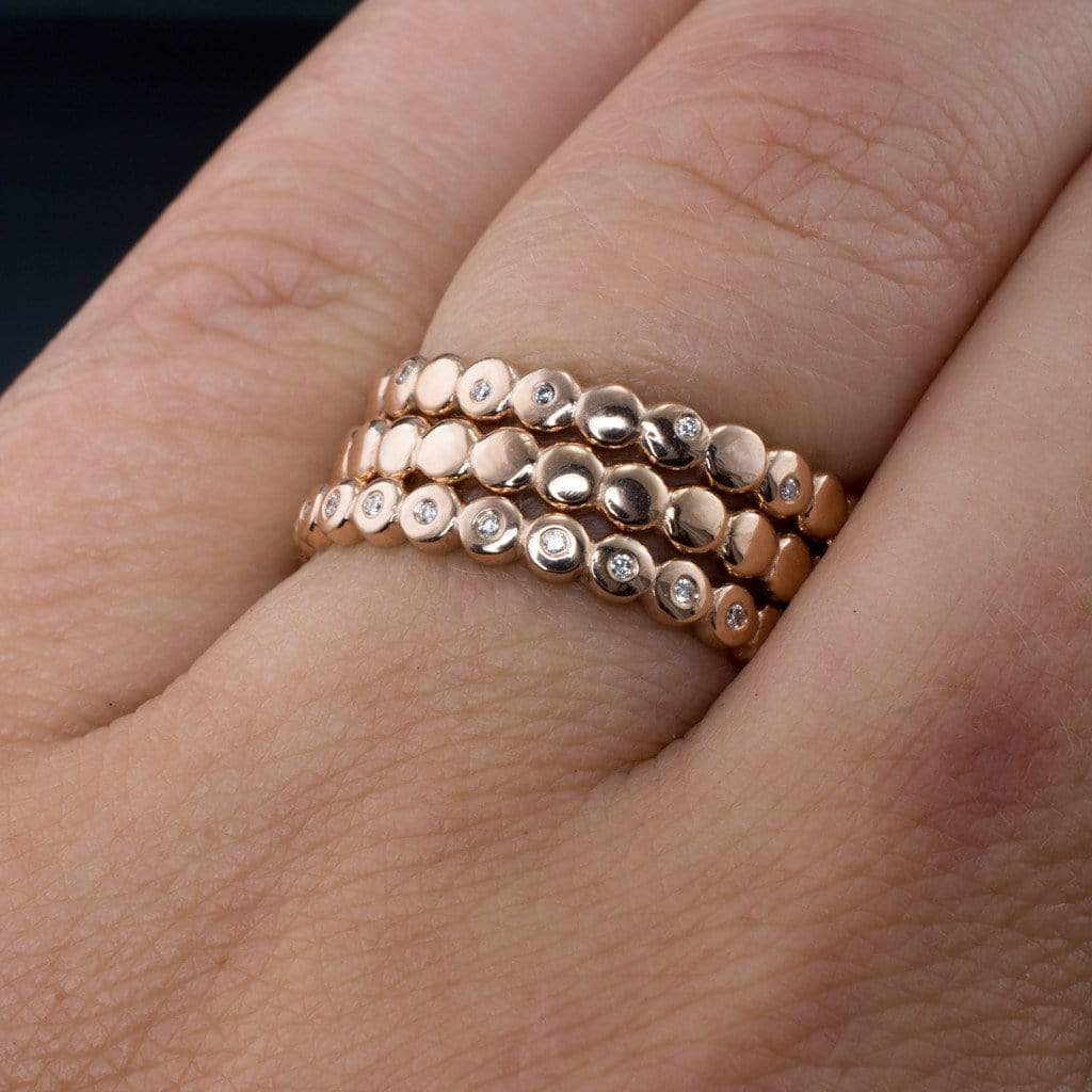 Beaded Rose Gold Random Diamond Eternity Ring Stacking Wedding Band s