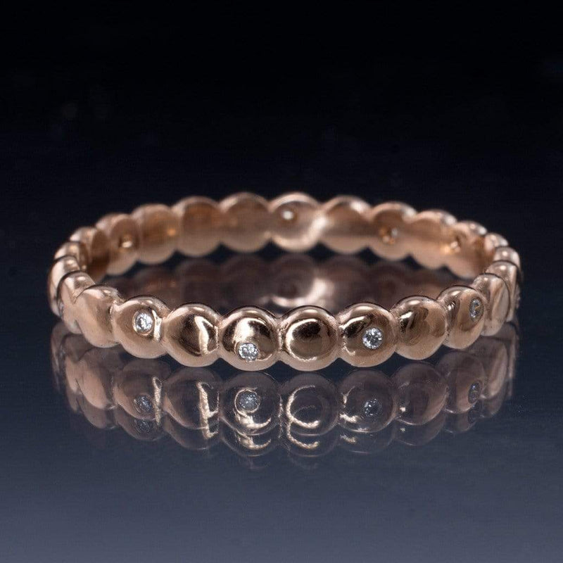 Beaded Rose Gold Random Diamond Eternity Ring Stacking Wedding Band, size 6.5-8 - by Nodeform