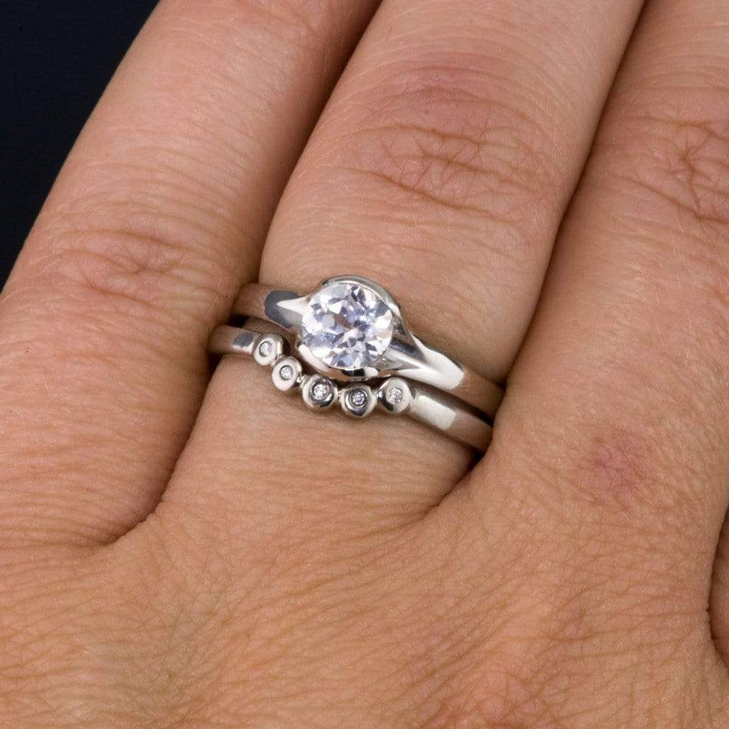 Lab Created White Sapphire Engagement Rings
