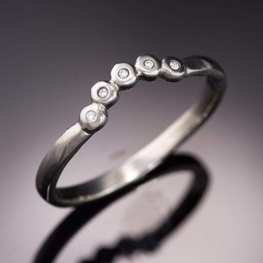 Curved Beaded Diamond Contoured Shadow Wedding Ring