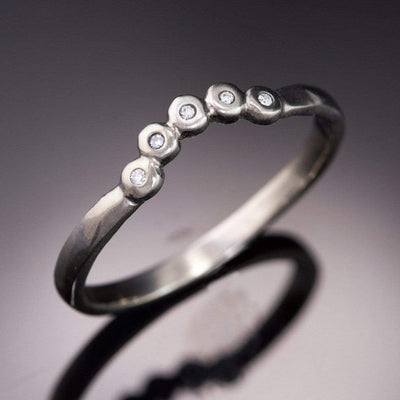 Curved Beaded Diamond Contoured Shadow Wedding Ring - by Nodeform