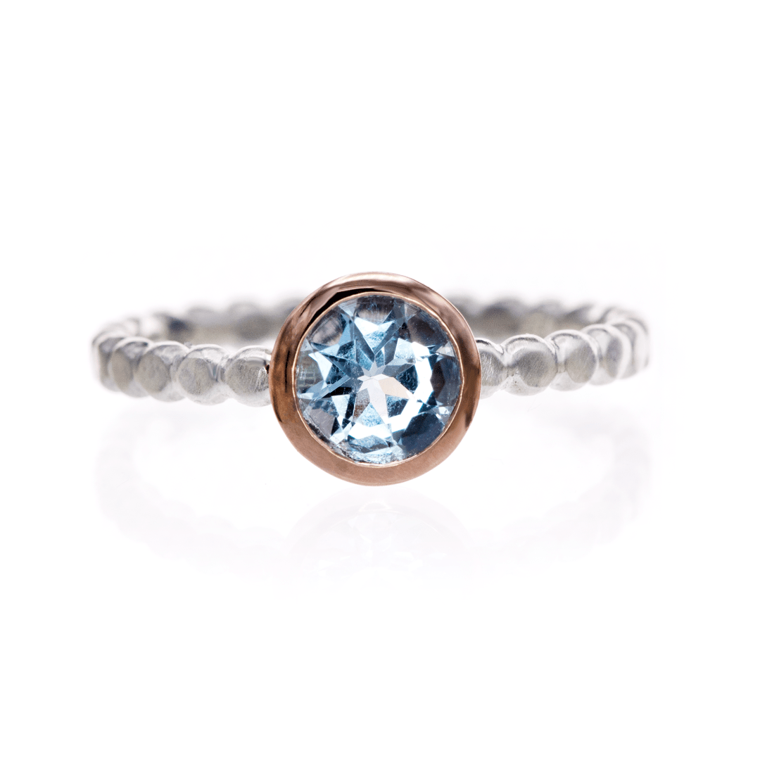 Round Aquamarine Rose Gold Bezel Beaded Sterling Silver Stacking Ring, Size 4 to 9