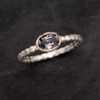 Oval Gray-purple Spinel Rose Gold Bezel Beaded Sterling Silver Stacking Ring, Size 4 to 9