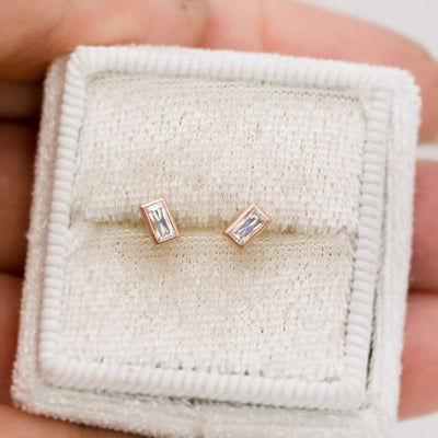 Simple Baguette Forever One Moissanite Bezel Set Stud Earrings