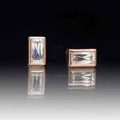 Supernova Baguette Moissanite 14k Rose Gold Bezel Stud Earrings, Ready To Ship