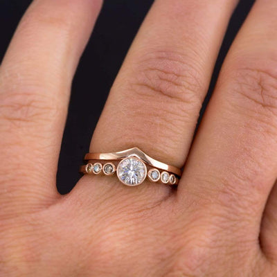 Moissanite or White Sapphire & Graduated Champagne Diamond Bezel Engagement Ring