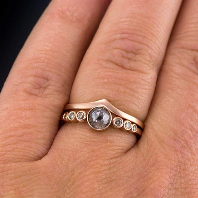 Bezel set Rose Cut Dark Gray Diamond & Graduated Diamond Accents Engagement Ring