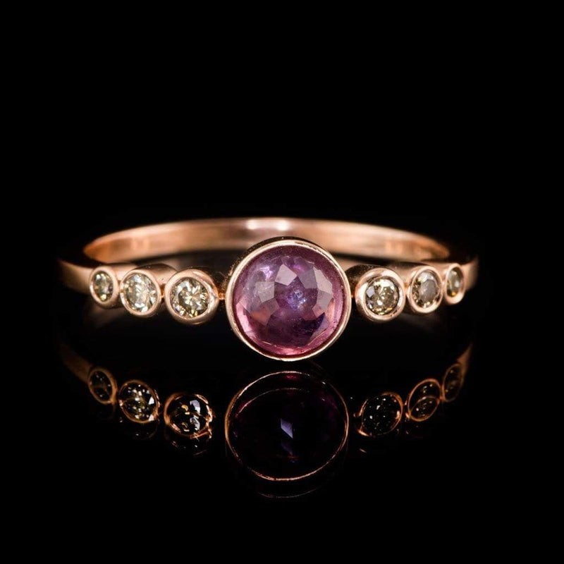 Pink Rose Cut Sapphire & Graduated Champagne Diamond Gold Bezel Engagement Ring