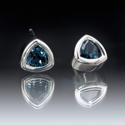Trillion London Blue Topaz Bezel Set Stud Earrings