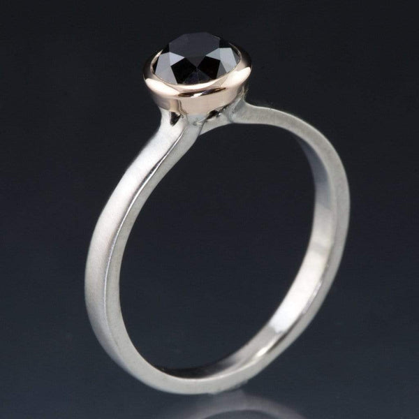 Mixed Metal Black Diamond Bezel Engagement Ring