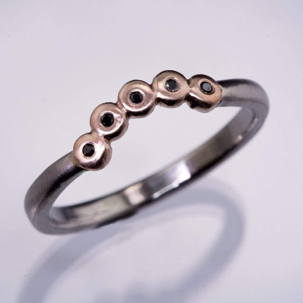 Curved Rose Gold Beaded Black Diamond Contoured Shadow Palladium Wedding Ring, ready to size 4 to 9 - by Nodeform
