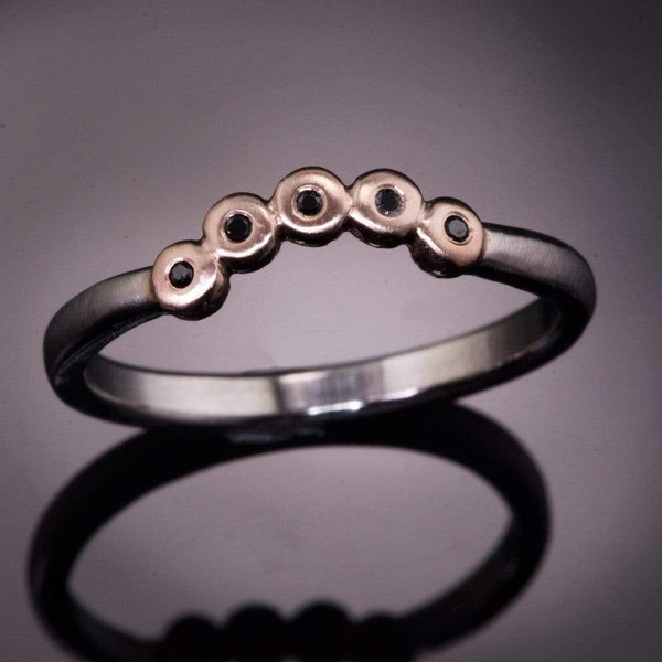 Curved Rose Gold Beaded Black Diamond Contoured Shadow Palladium Wedding Ring, ready to ship size 4 to 9 - by Nodeform