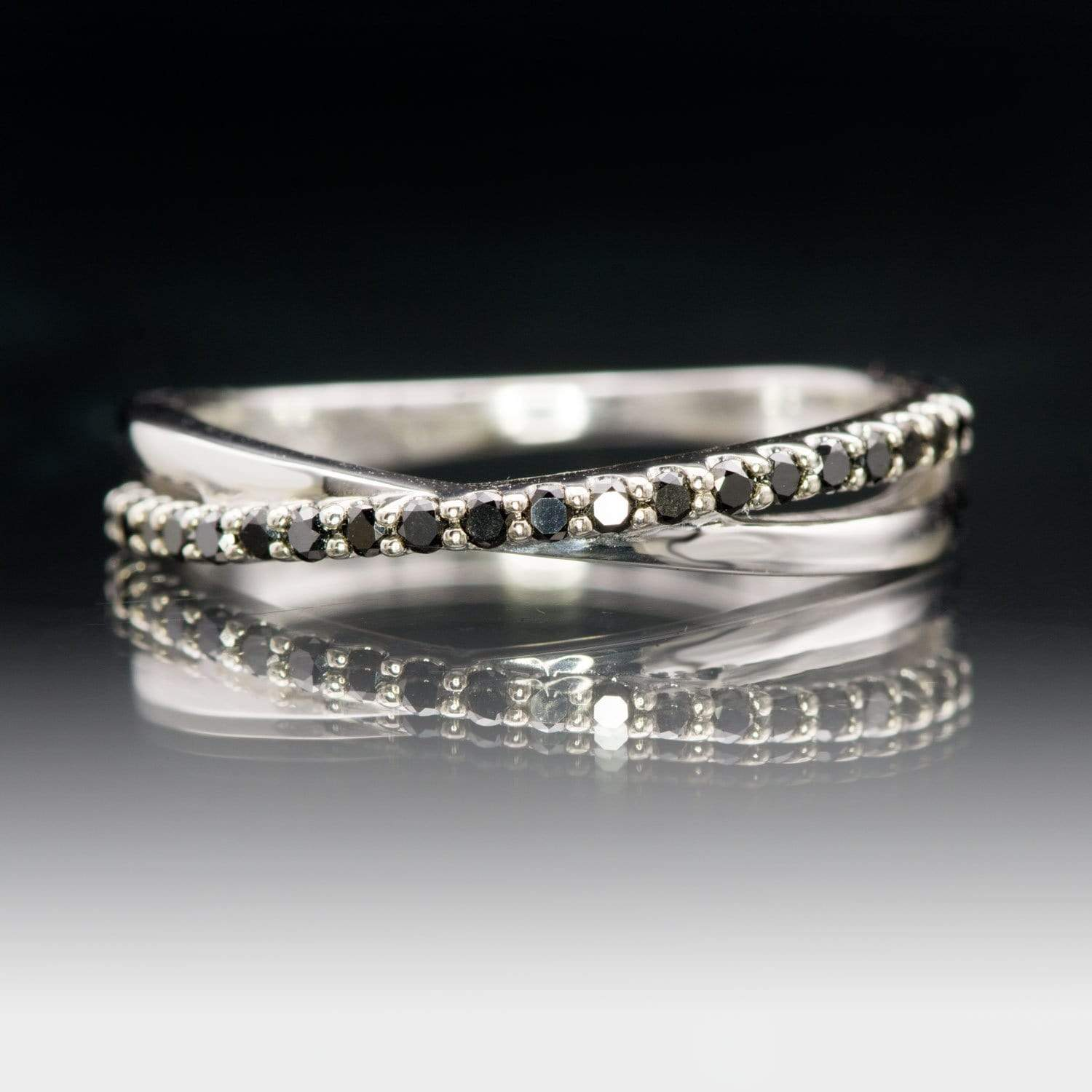 Criss Cross Black Diamond Band - Contoured Wedding Ring with Black Diamonds