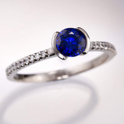 Blue Chatham Created Sapphire Half Bezel Diamond Pave Engagement Ring - by Nodeform