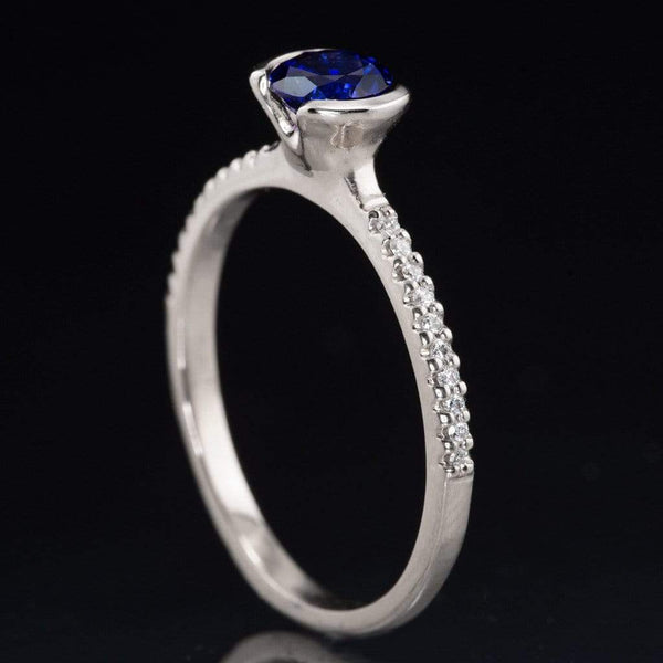 Blue Chatham Created Sapphire Half Bezel Diamond Pave Engagement Ring