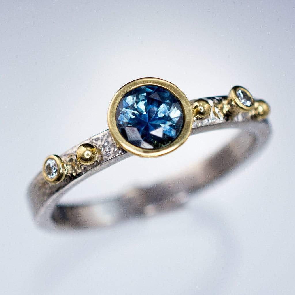 8a8d52248 Engagement Ring Fair Trade Blue / Green Malawi Sapphire & Diamond Gold  Accents - by Nodeform