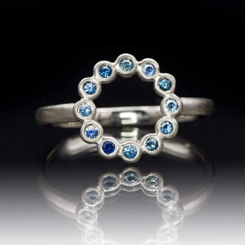 Beaded Circle Ring with Bezel Set Australian Blue Sapphires - Nodeform