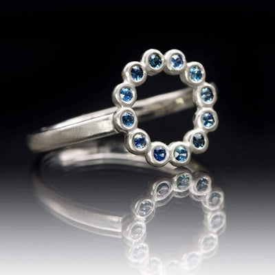 Beaded Circle Ring with Bezel Set Australian Blue Sapphires