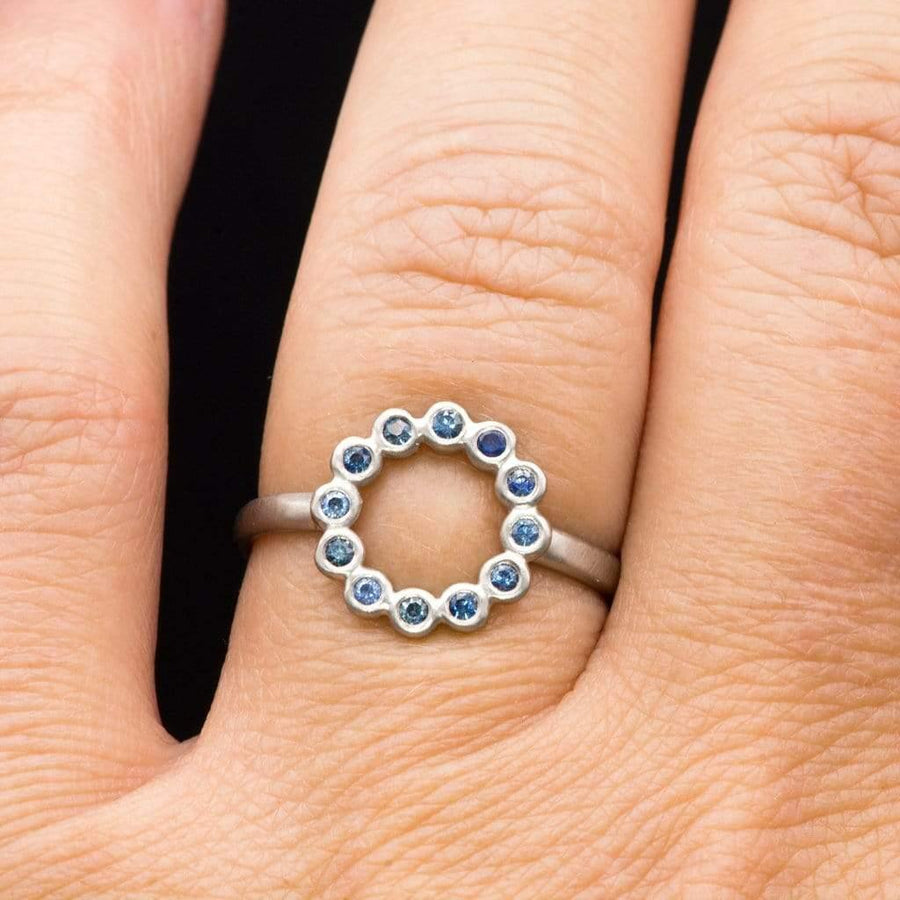 Beaded Circle Palladium Ring with Australian Blue Sapphires, ready to size 4-9