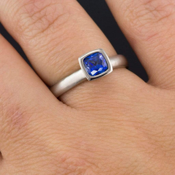 Cushion Cut Chatham Blue Sapphire Bezel Solitaire Engagement Ring
