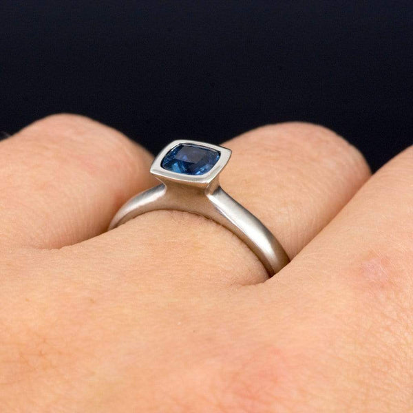 Cushion Cut Chatham Blue Sapphire Bezel Solitaire Engagement Ring - by Nodeform
